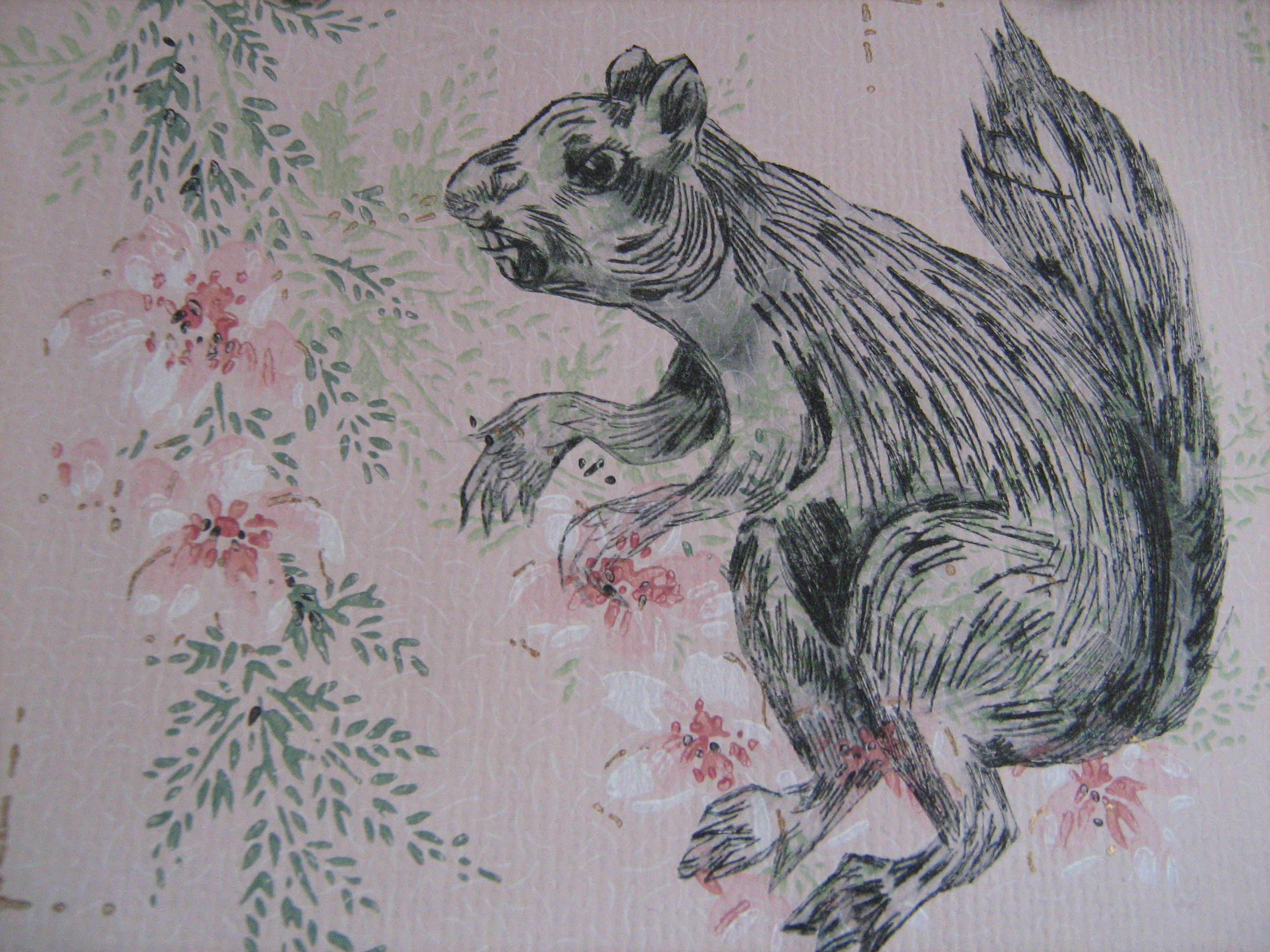 Nasty Squirrel drypoint print Deborah French