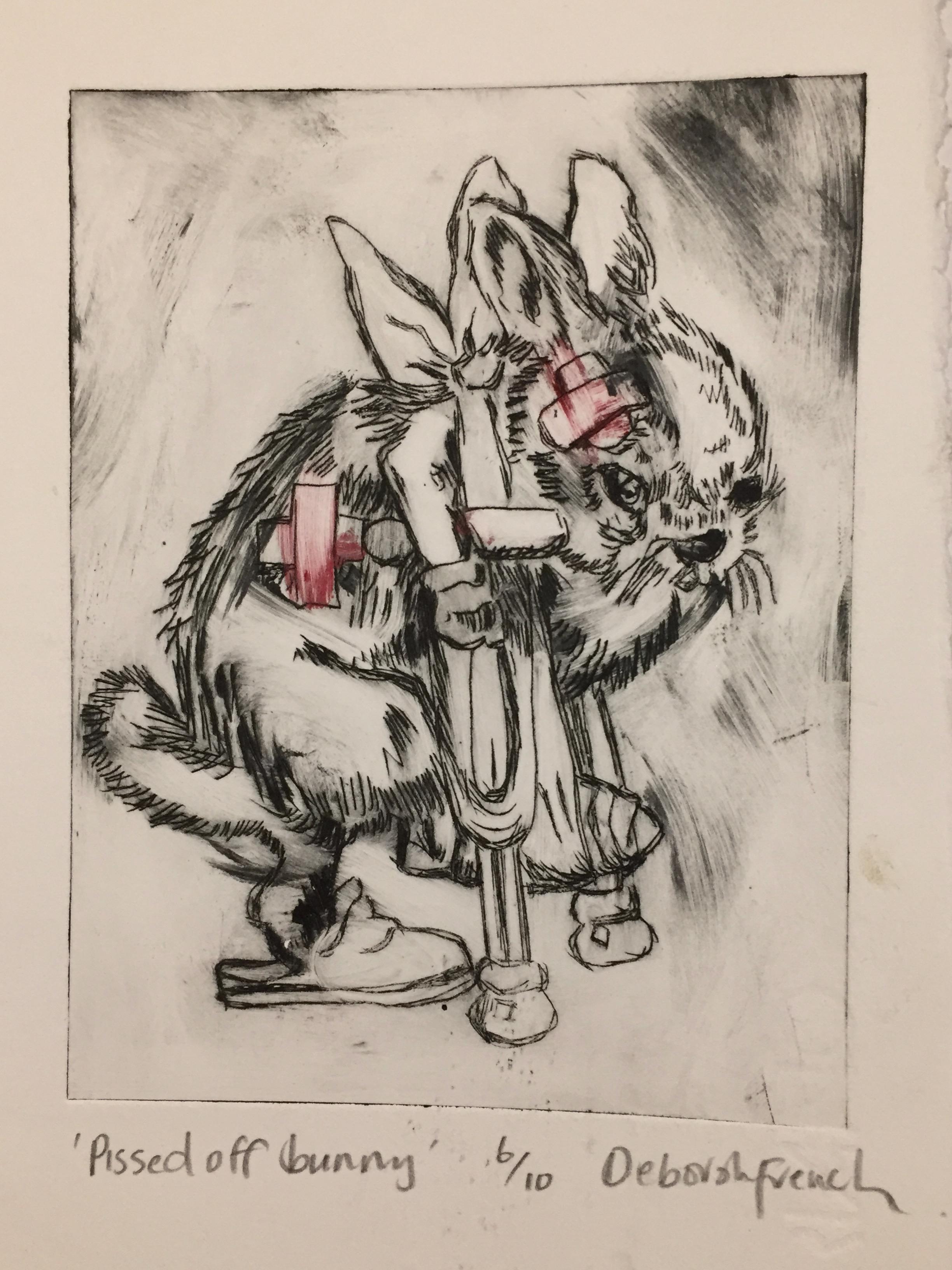 Nasty Bunny drypoint print Deborah French